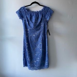 Adrianna Papell Blue Lace Off the Shoulder Dress